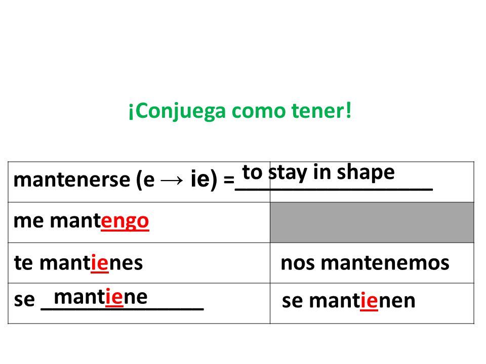 ¡Conjuega como tener! to stay in shape. mantenerse (e → ie) =_________________. me mantengo. te mantienes.