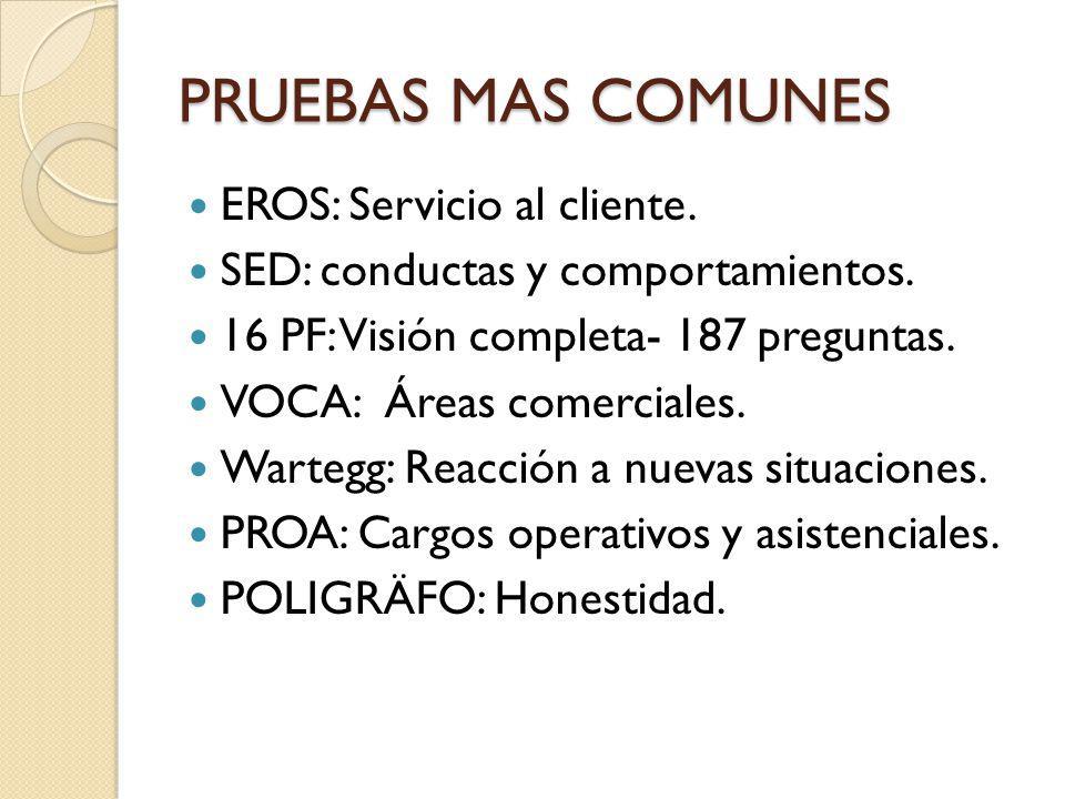 PRUEBAS MAS COMUNES EROS: Servicio al cliente.
