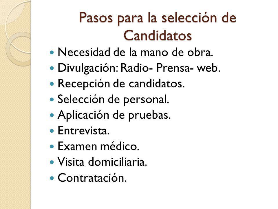 Pasos para la selección de Candidatos