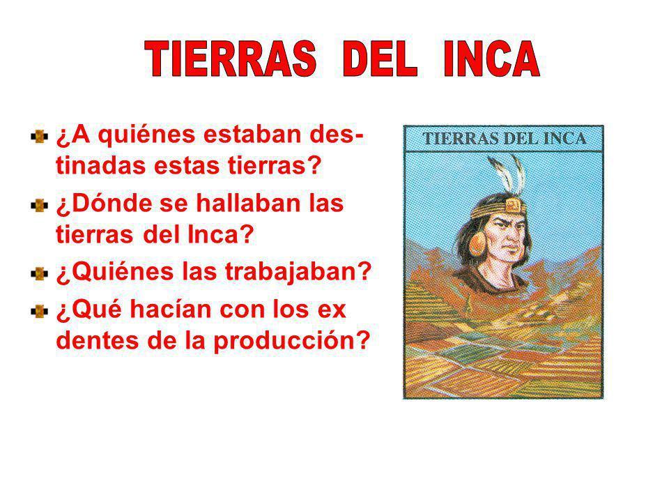 TIERRAS DEL INCA ¿A quiénes estaban des- tinadas estas tierras ¿Dónde se hallaban las tierras del Inca