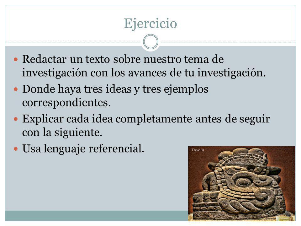 Ejercicio Redactar un texto sobre nuestro tema de investigación con los avances de tu investigación.