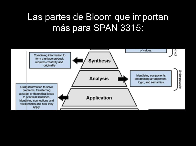 Las partes de Bloom que importan más para SPAN 3315: