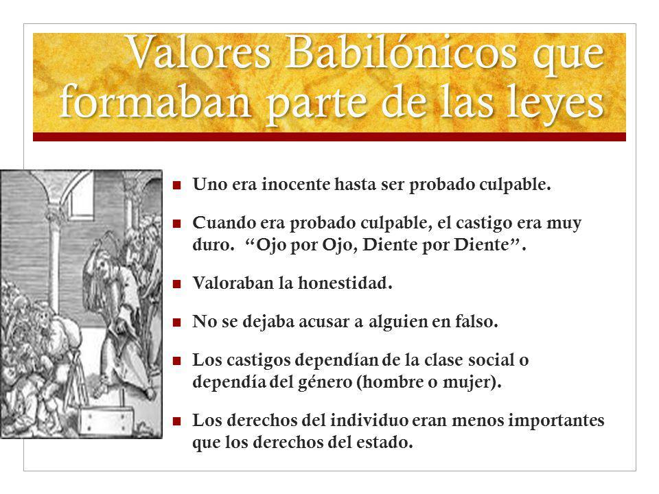 Valores Babilónicos que formaban parte de las leyes