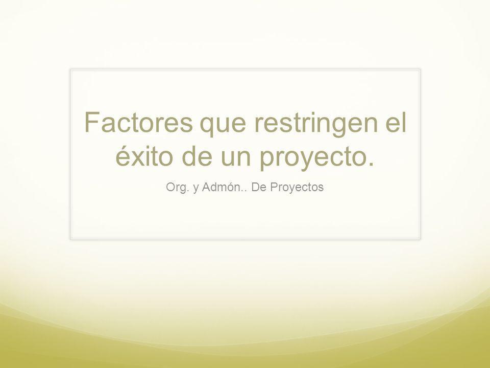 Factores que restringen el éxito de un proyecto.
