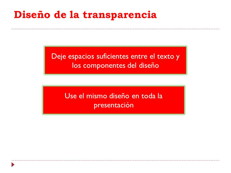 Diseño de la transparencia