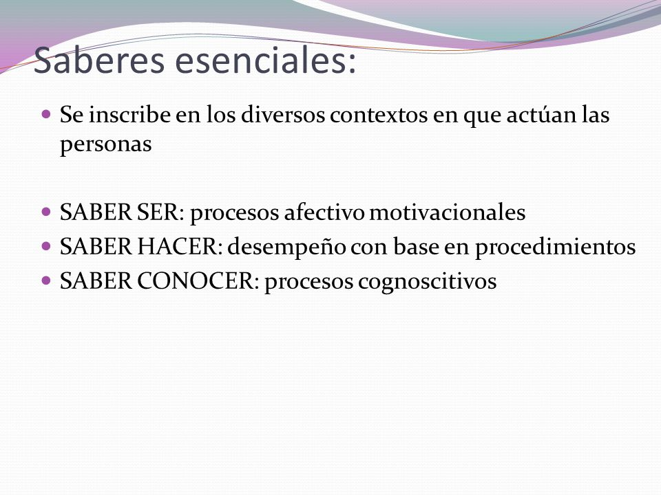 Saberes esenciales: Se inscribe en los diversos contextos en que actúan las personas. SABER SER: procesos afectivo motivacionales.