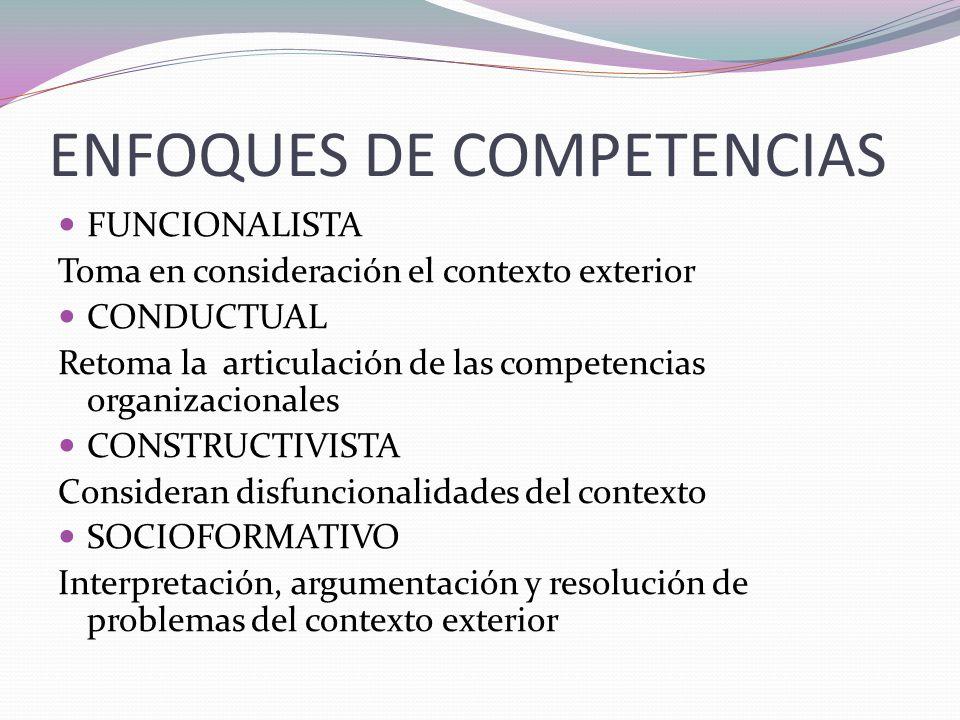ENFOQUES DE COMPETENCIAS