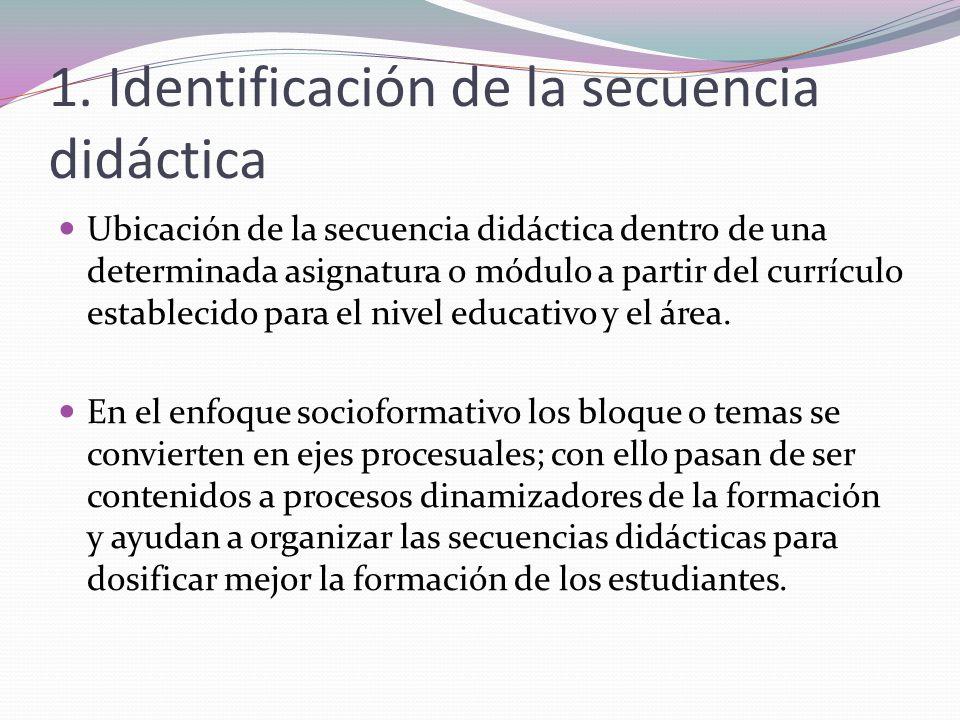 1. Identificación de la secuencia didáctica