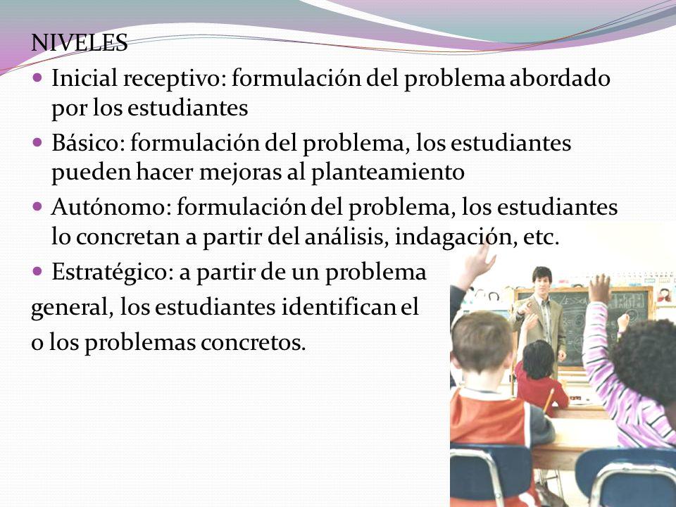 NIVELES Inicial receptivo: formulación del problema abordado por los estudiantes.