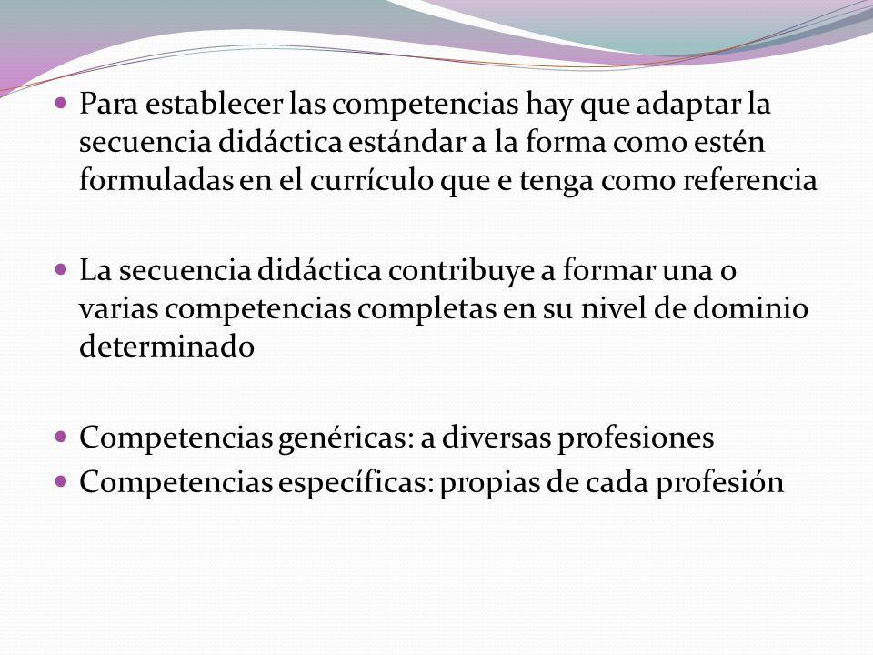 Para establecer las competencias hay que adaptar la secuencia didáctica estándar a la forma como estén formuladas en el currículo que e tenga como referencia