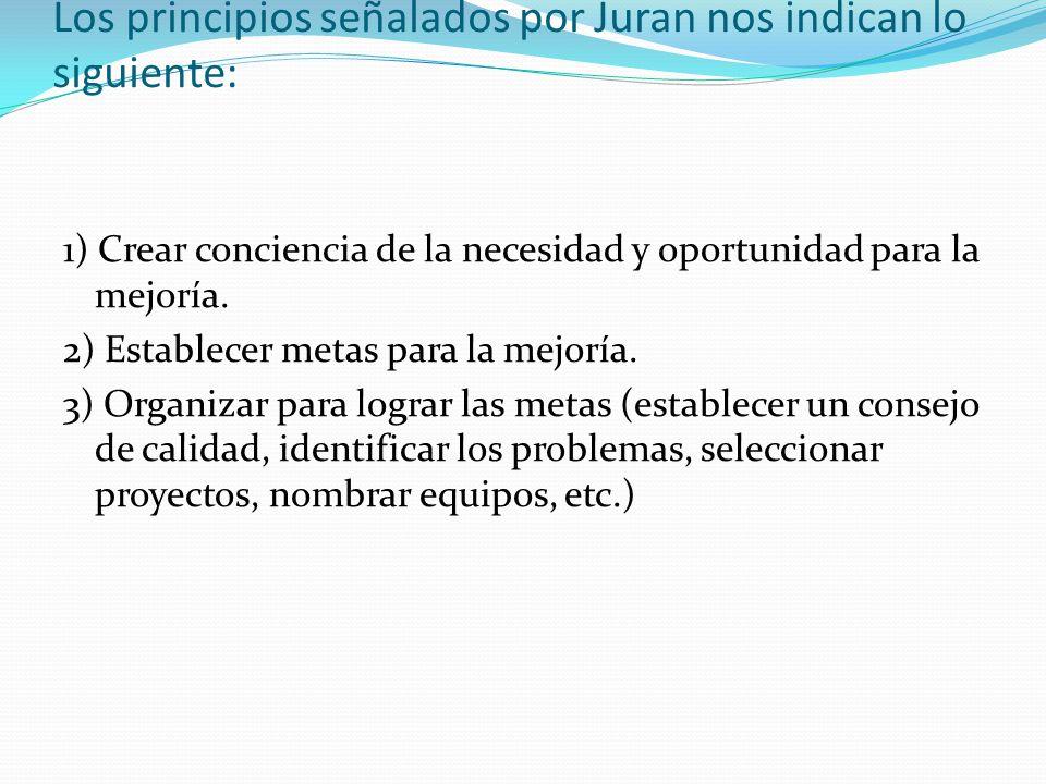 Los principios señalados por Juran nos indican lo siguiente:
