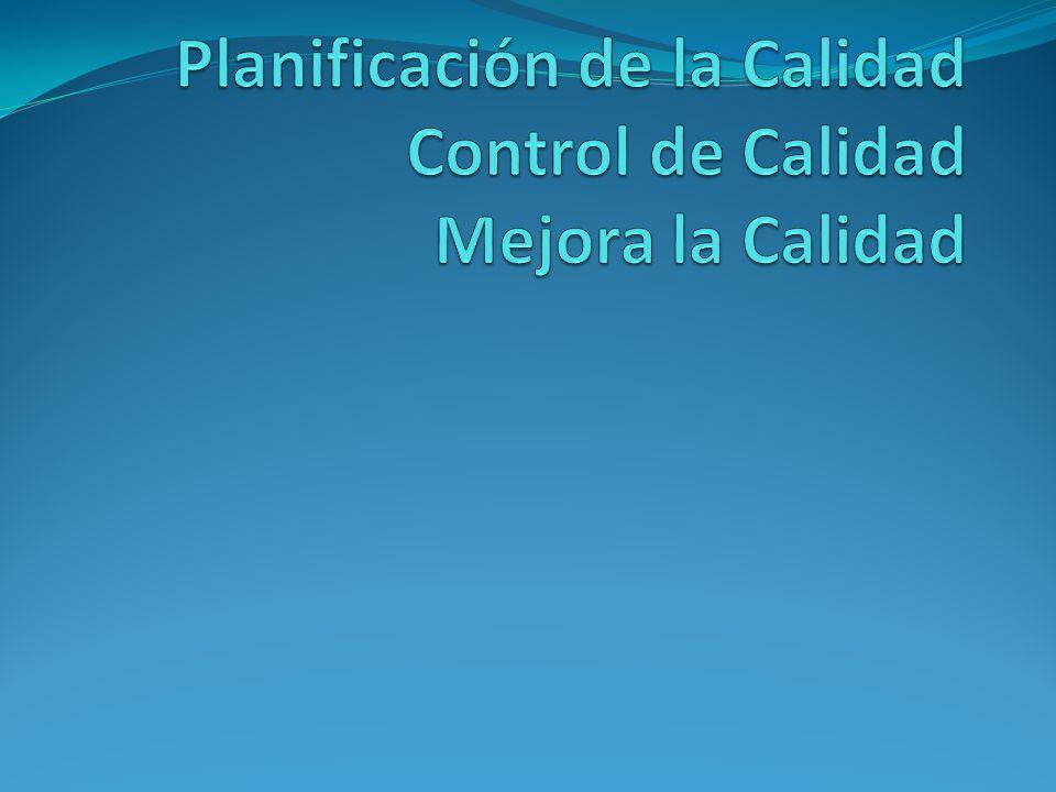 Trilogía de juran Planificación de la Calidad Control de Calidad Mejora la Calidad