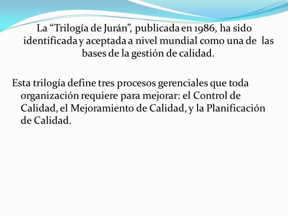 La Trilogía de Jurán , publicada en 1986, ha sido identificada y aceptada a nivel mundial como una de las bases de la gestión de calidad.