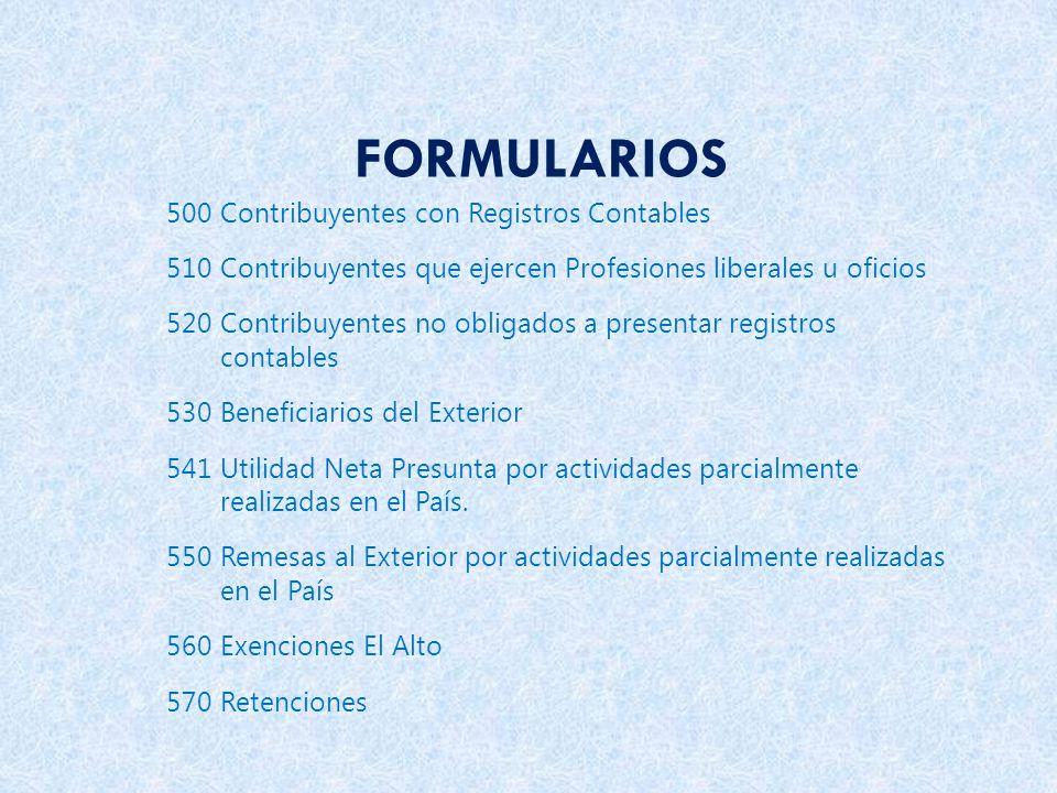 FORMULARIOS 500 Contribuyentes con Registros Contables