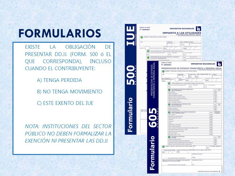 FORMULARIOS EXISTE LA OBLIGACIÓN DE PRESENTAR DD.JJ. (FORM. 500 ó EL QUE CORRESPONDA), INCLUSO CUANDO EL CONTRIBUYENTE: