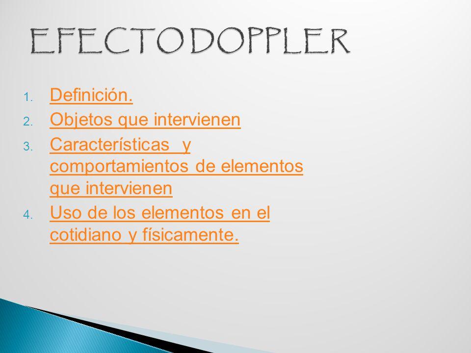 EFECTO DOPPLER Definición. Objetos que intervienen