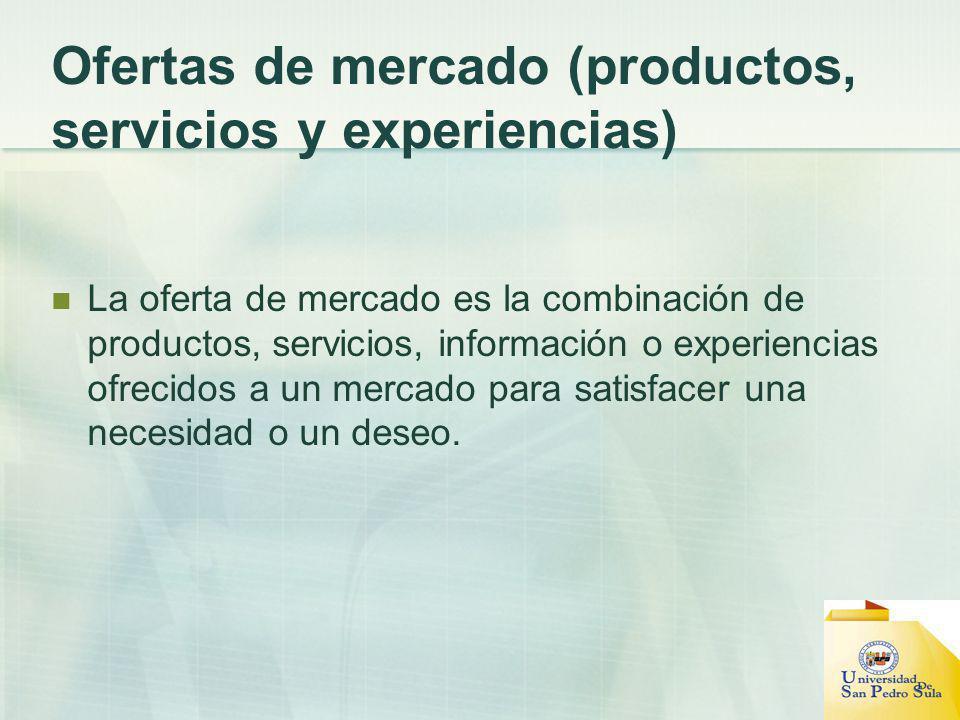 Ofertas de mercado (productos, servicios y experiencias)