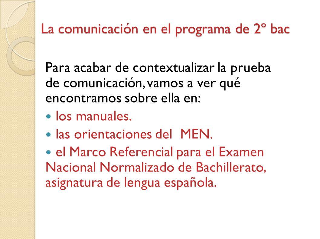 La comunicación en el programa de 2º bac