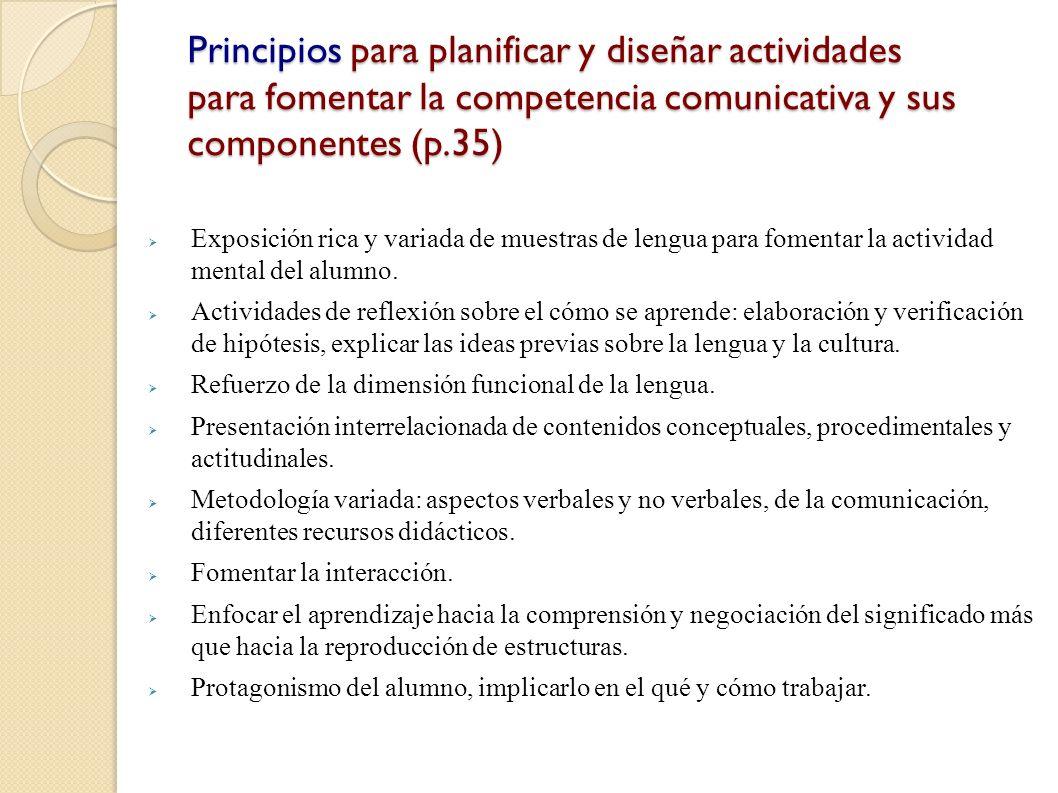 Principios para planificar y diseñar actividades para fomentar la competencia comunicativa y sus componentes (p.35)