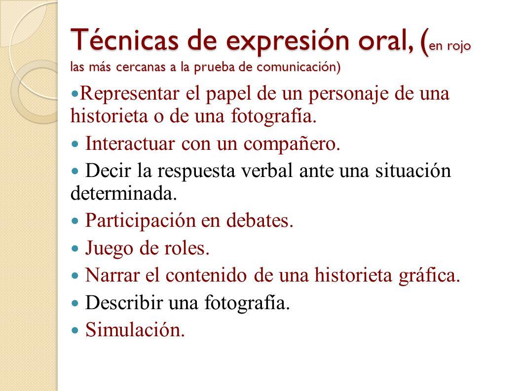 Técnicas de expresión oral, (en rojo las más cercanas a la prueba de comunicación)