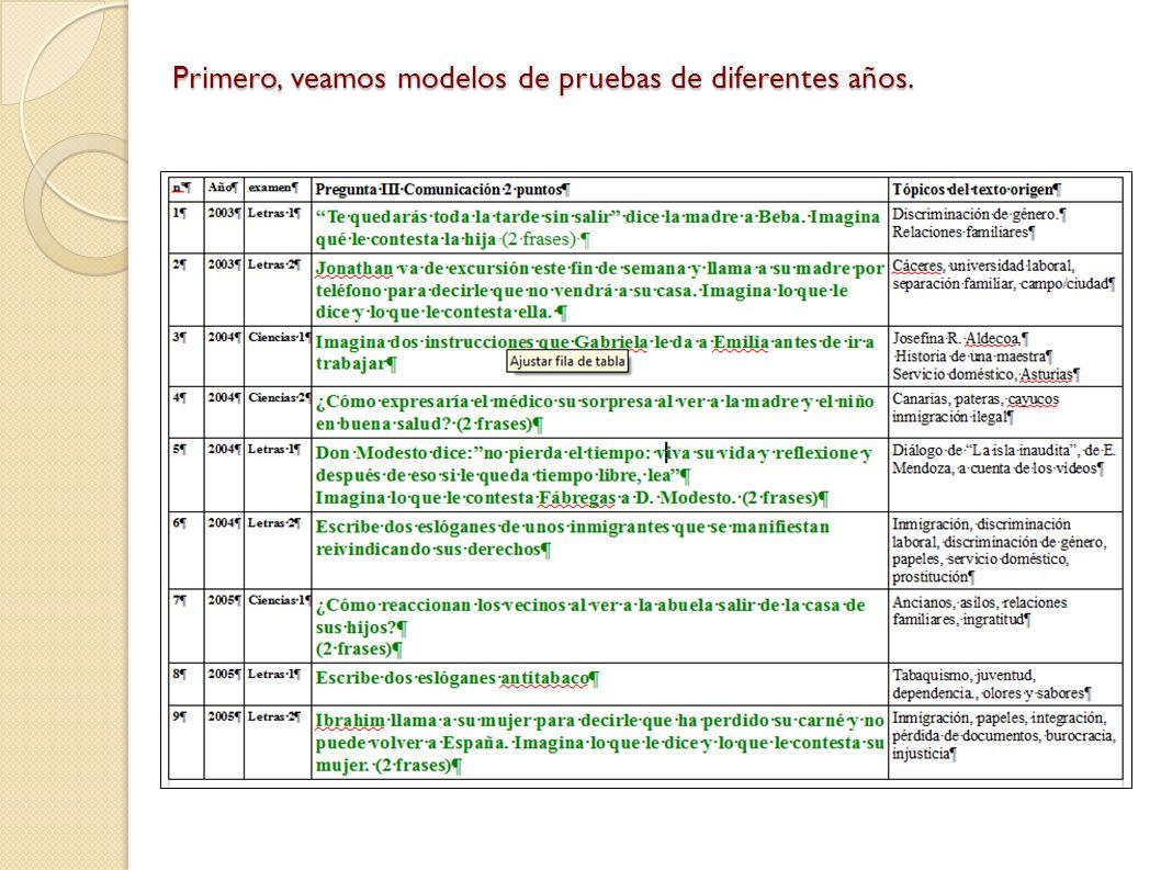 Primero, veamos modelos de pruebas de diferentes años.