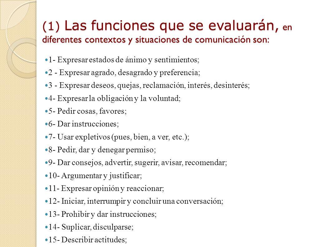(1) Las funciones que se evaluarán, en diferentes contextos y situaciones de comunicación son: