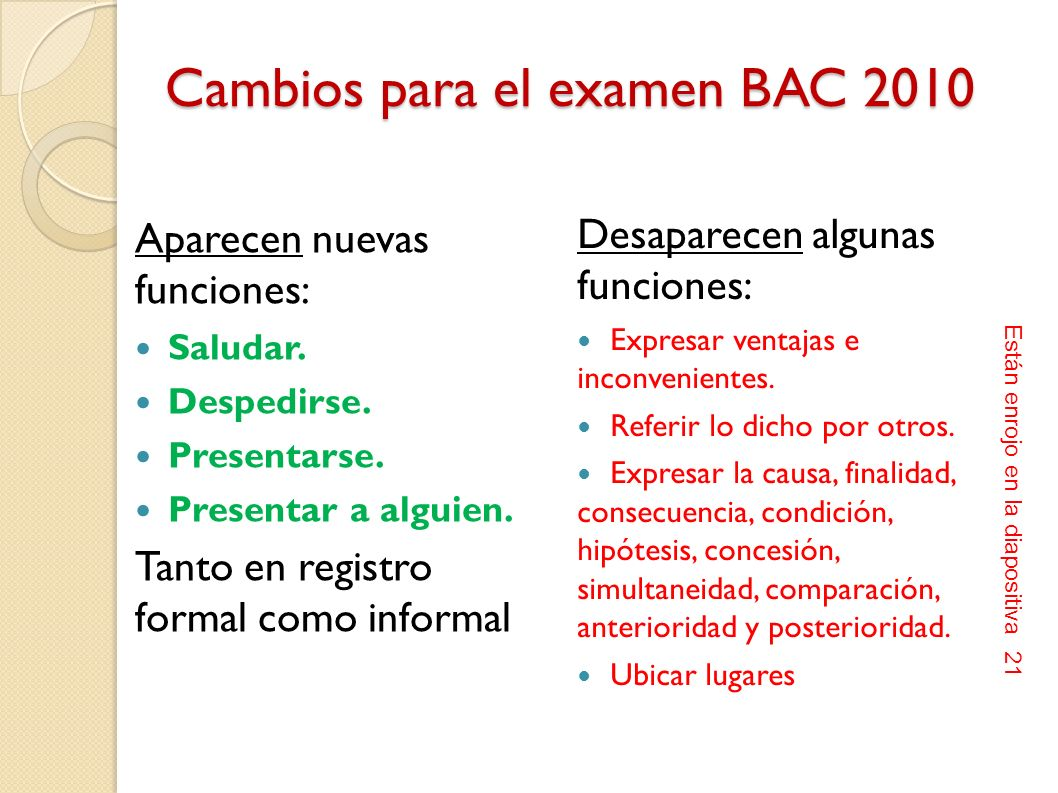 Cambios para el examen BAC 2010