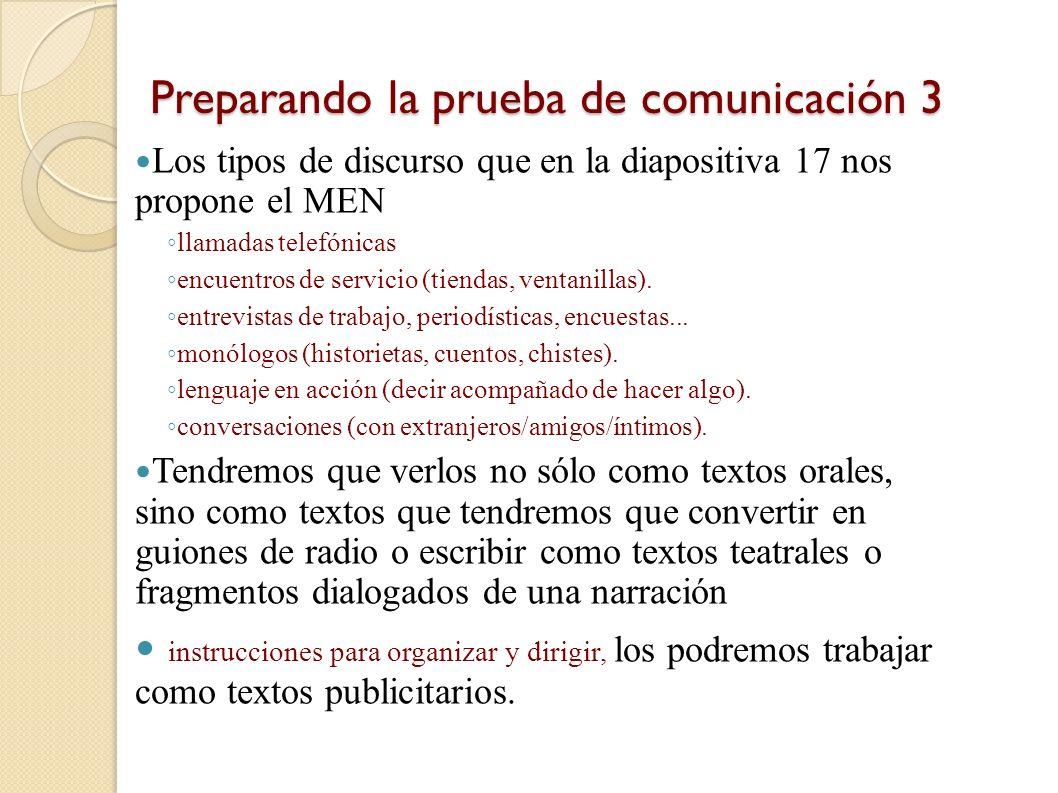 Preparando la prueba de comunicación 3