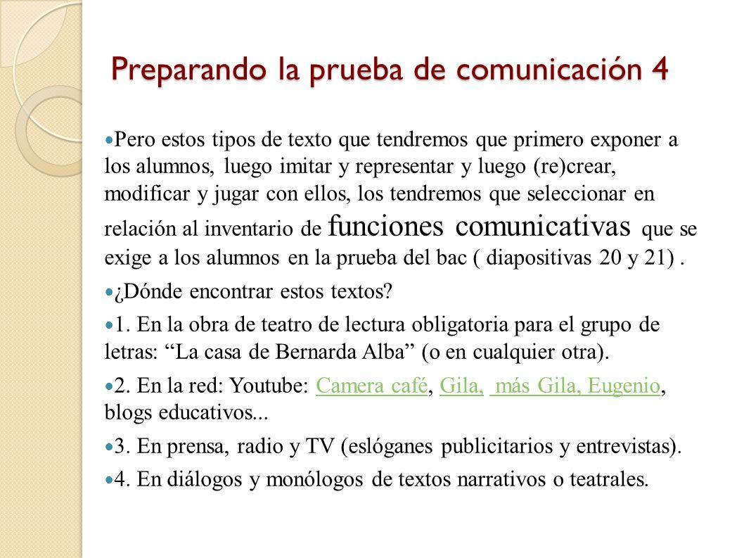 Preparando la prueba de comunicación 4