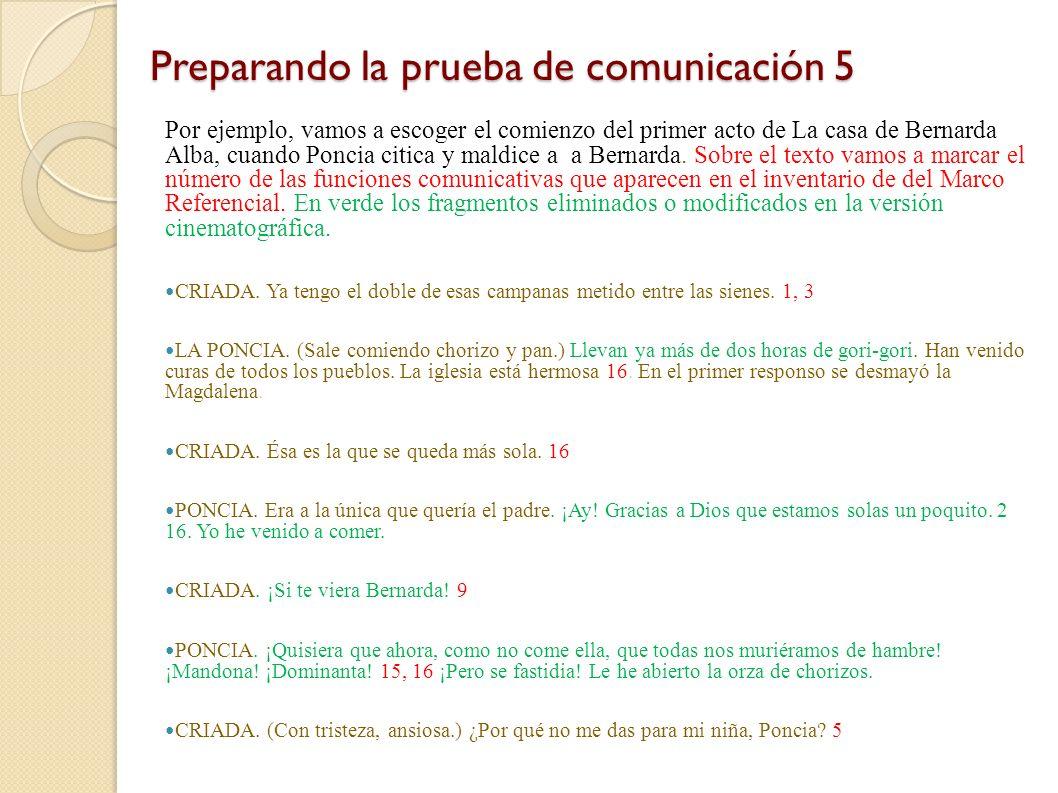 Preparando la prueba de comunicación 5