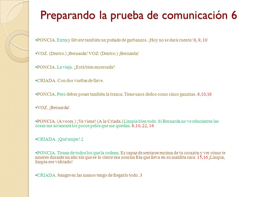 Preparando la prueba de comunicación 6