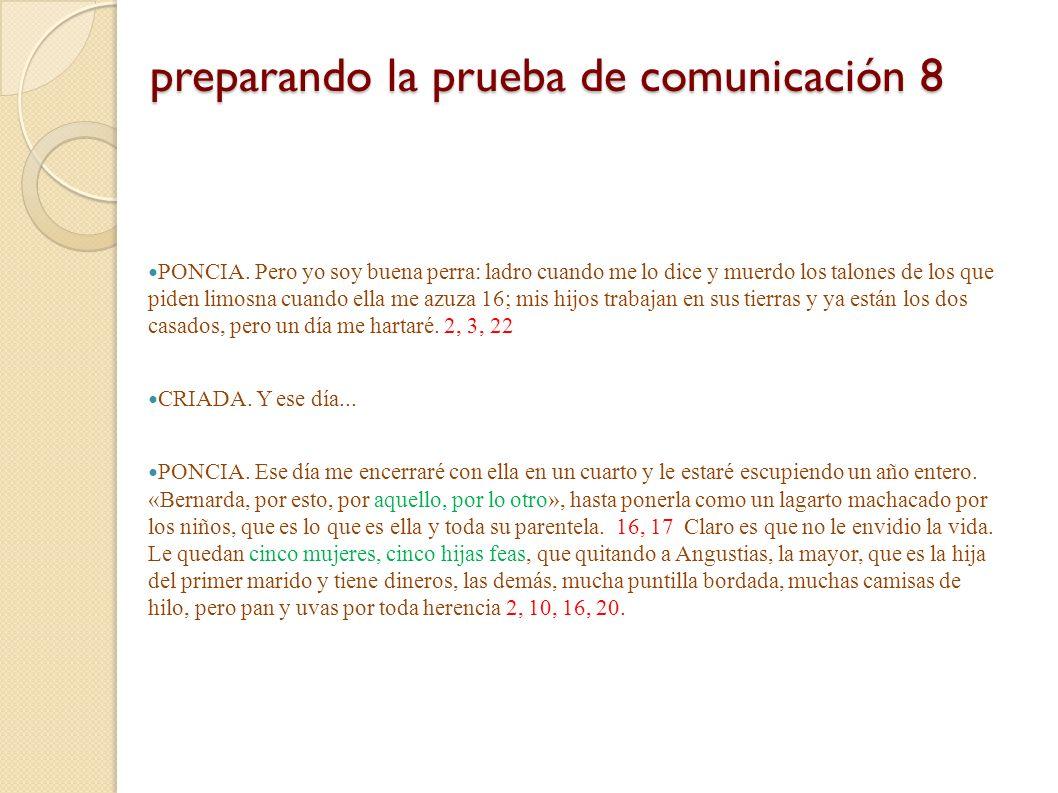 preparando la prueba de comunicación 8