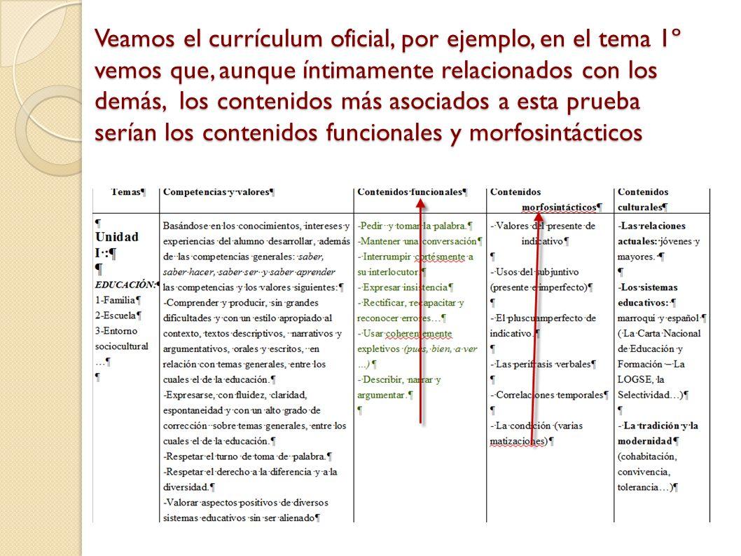 Veamos el currículum oficial, por ejemplo, en el tema 1º vemos que, aunque íntimamente relacionados con los demás, los contenidos más asociados a esta prueba serían los contenidos funcionales y morfosintácticos