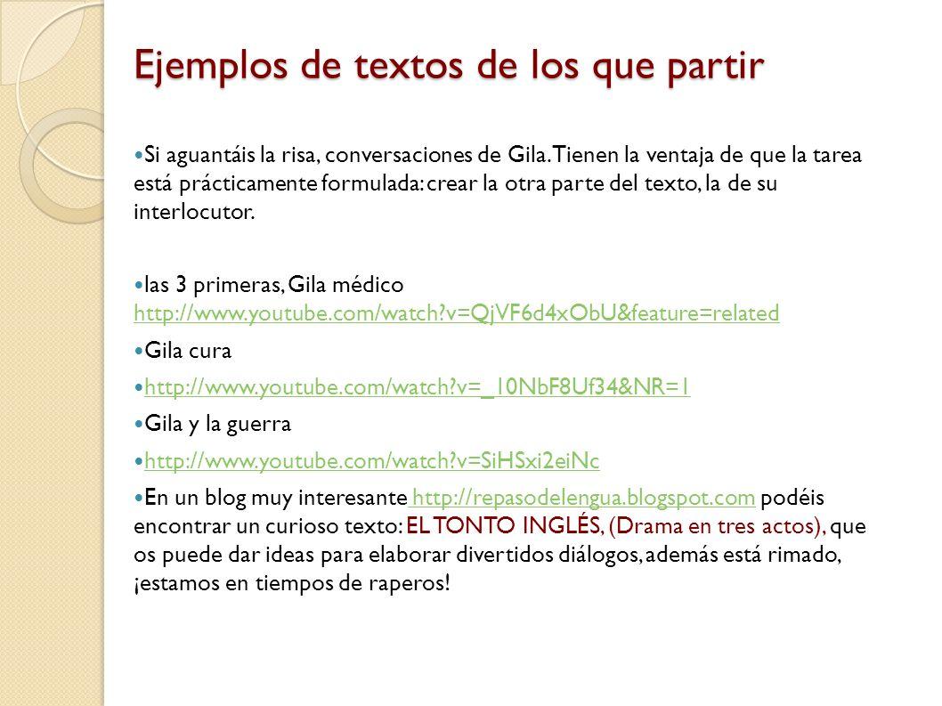 Ejemplos de textos de los que partir