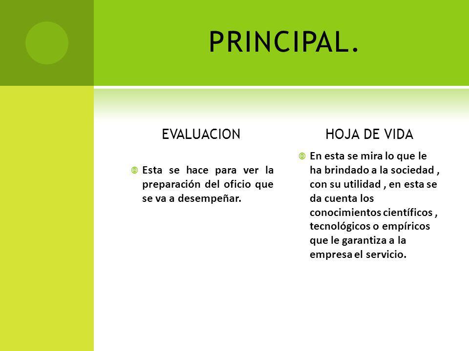 PRINCIPAL. EVALUACION HOJA DE VIDA