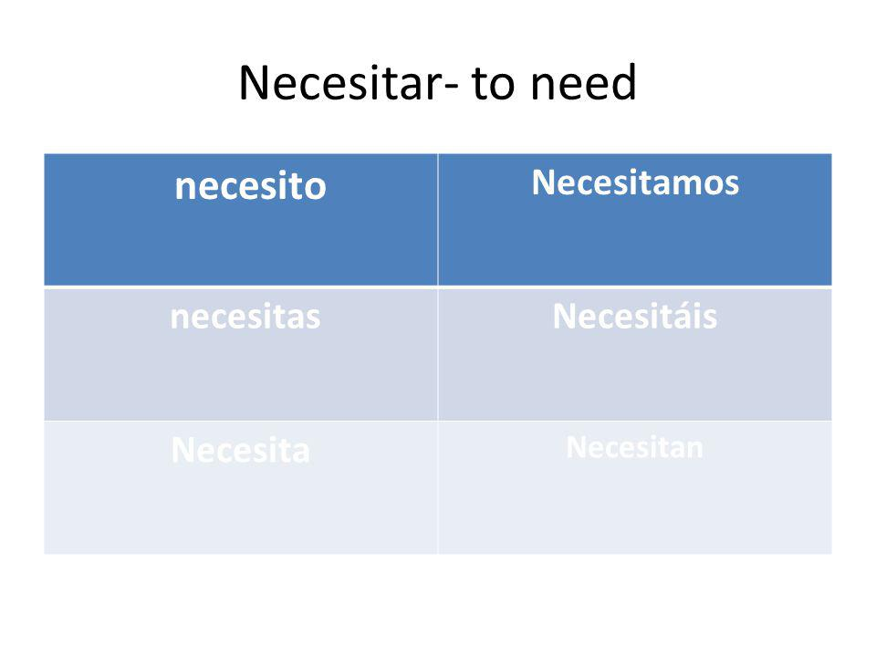 Necesitar- to need necesito Necesitamos necesitas Necesitáis Necesita