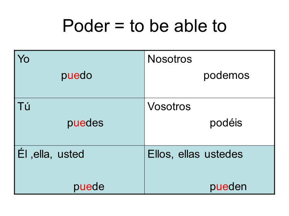 Poder = to be able to Yo puedo Nosotros podemos Tú puedes Vosotros