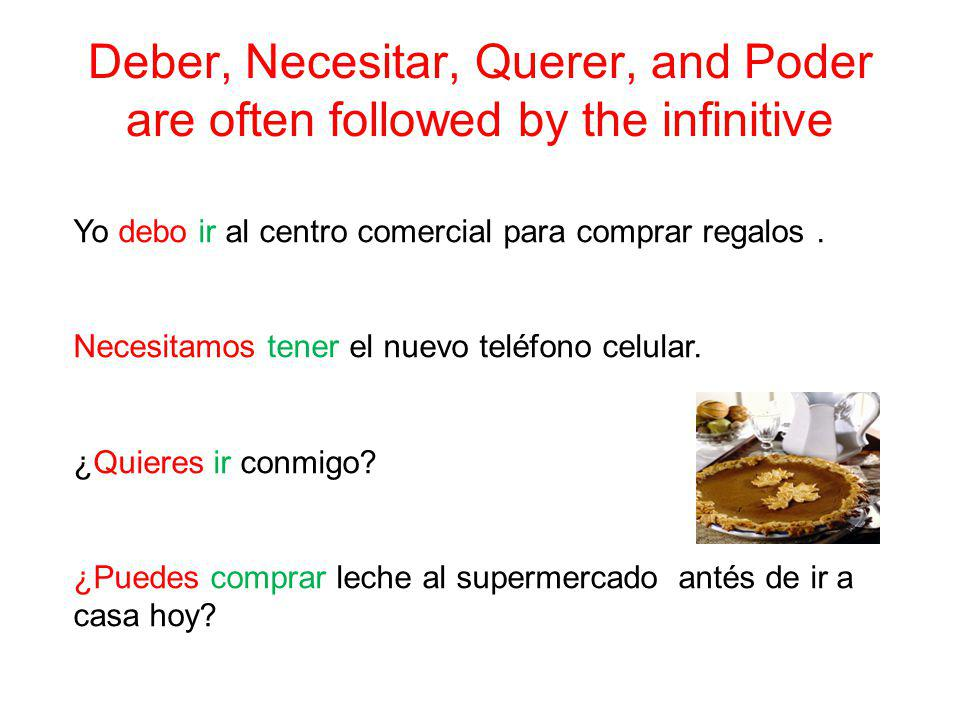 Deber, Necesitar, Querer, and Poder are often followed by the infinitive