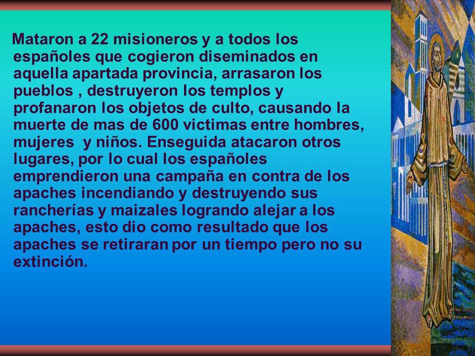 Mataron a 22 misioneros y a todos los españoles que cogieron diseminados en aquella apartada provincia, arrasaron los pueblos , destruyeron los templos y profanaron los objetos de culto, causando la muerte de mas de 600 victimas entre hombres, mujeres y niños.