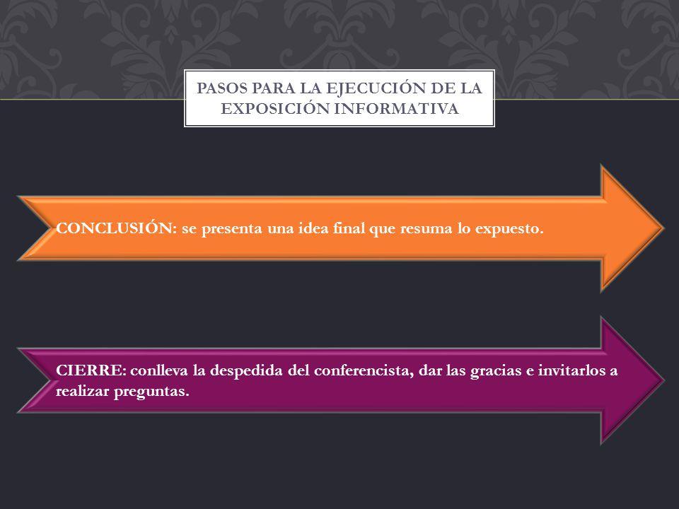 Pasos para la ejecución de la exposición informativa