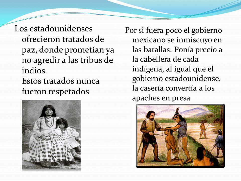 Los estadounidenses ofrecieron tratados de paz, donde prometían ya no agredir a las tribus de indios. Estos tratados nunca fueron respetados