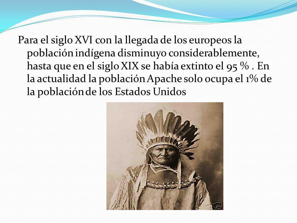 Para el siglo XVI con la llegada de los europeos la población indígena disminuyo considerablemente, hasta que en el siglo XIX se había extinto el 95 % .