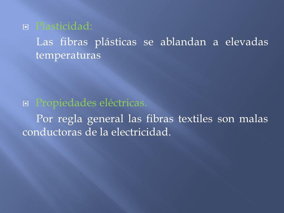 Plasticidad: Las fibras plásticas se ablandan a elevadas temperaturas. Propiedades eléctricas.