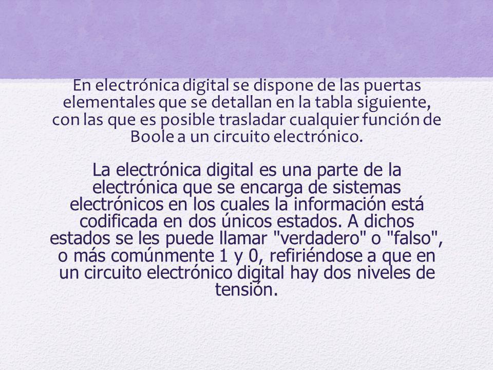 En electrónica digital se dispone de las puertas elementales que se detallan en la tabla siguiente, con las que es posible trasladar cualquier función de Boole a un circuito electrónico.