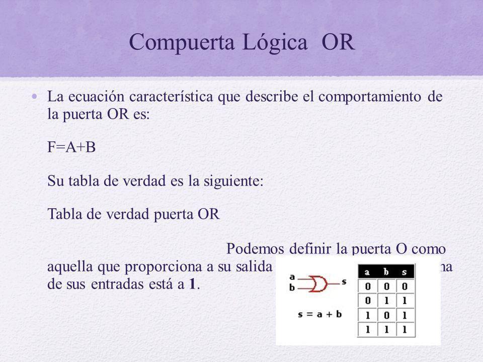 Compuerta Lógica OR La ecuación característica que describe el comportamiento de la puerta OR es: