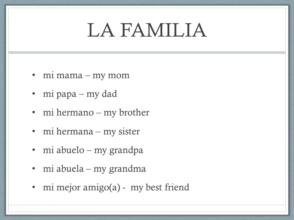 LA FAMILIA mi mama – my mom mi papa – my dad mi hermano – my brother
