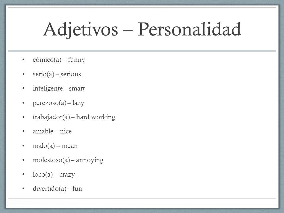 Adjetivos – Personalidad