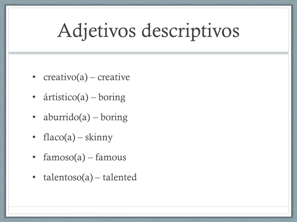 Adjetivos descriptivos