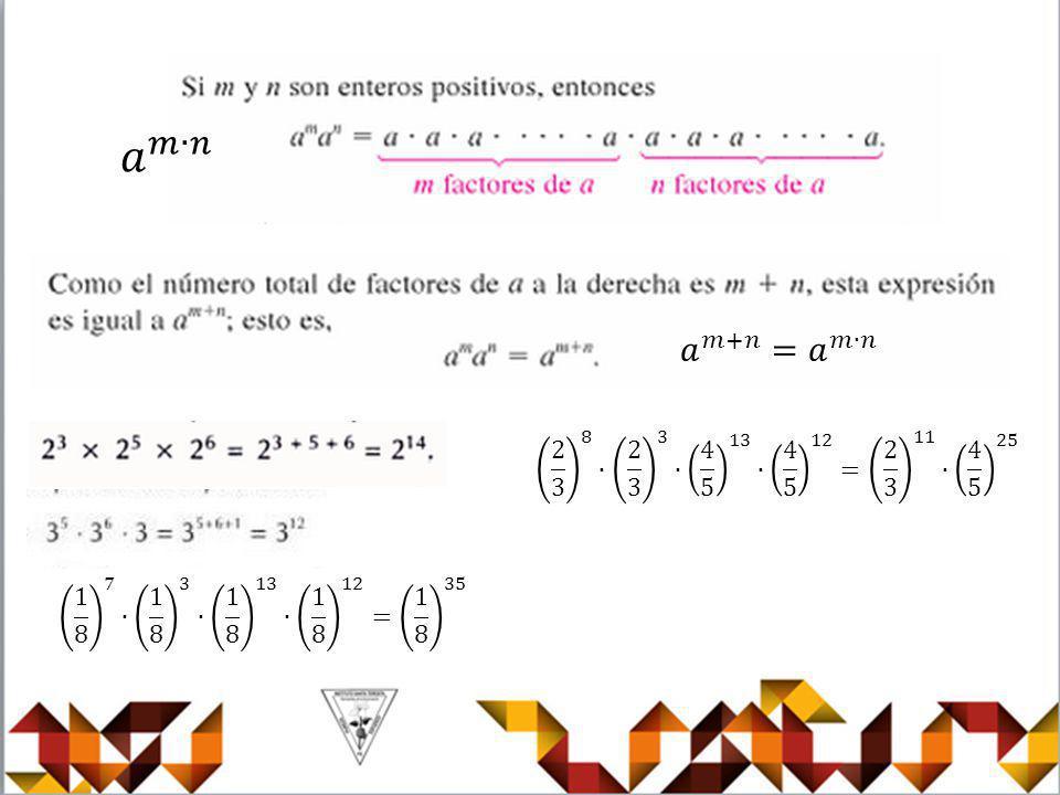 𝑎 𝑚∙𝑛 𝑎 𝑚+𝑛 =𝑎 𝑚∙𝑛. 2 3 8 ∙ 2 3 3 ∙ 4 5 13 ∙ 4 5 12 = 2 3 11 ∙ 4 5 25.