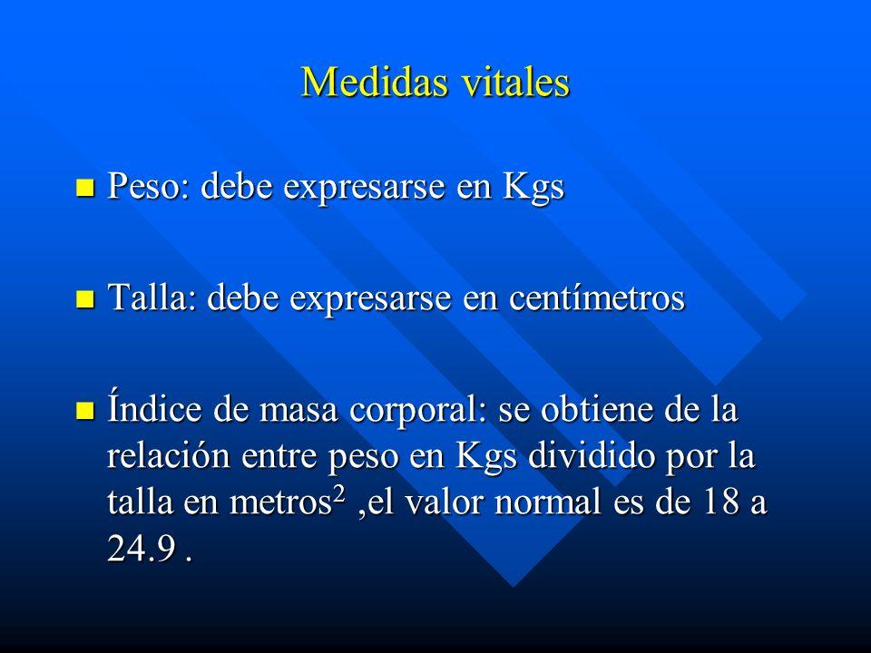 Medidas vitales Peso: debe expresarse en Kgs